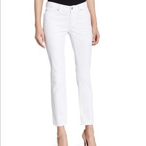 Eileen Fisher white skinny ankle jeans